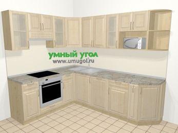 Угловая кухня из массива дерева в классическом стиле 6,8 м², 190 на 250 см, Светло-коричневые оттенки, верхние модули 72 см, посудомоечная машина, модуль под свч, встроенный духовой шкаф