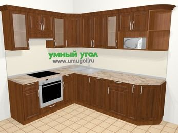 Угловая кухня из массива дерева в классическом стиле 6,8 м², 190 на 250 см, Темно-коричневые оттенки, верхние модули 72 см, посудомоечная машина, модуль под свч, встроенный духовой шкаф