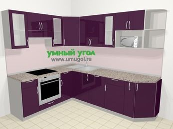 Угловая кухня МДФ глянец в современном стиле 6,8 м², 190 на 250 см, Баклажан, верхние модули 72 см, посудомоечная машина, модуль под свч, встроенный духовой шкаф