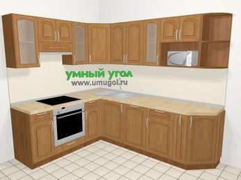 Угловая кухня МДФ патина в классическом стиле 6,8 м², 190 на 250 см, Ольха, верхние модули 72 см, посудомоечная машина, модуль под свч, встроенный духовой шкаф