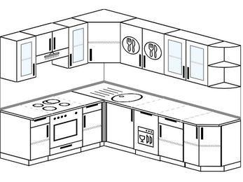 Угловая кухня 6,8 м² (1,9✕2,5 м), верхние модули 72 см, посудомоечная машина, встроенный духовой шкаф