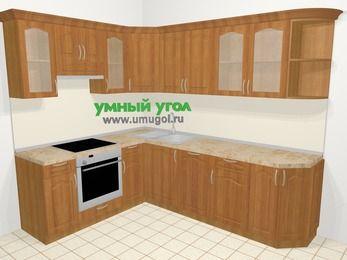 Угловая кухня МДФ матовый в классическом стиле 6,8 м², 190 на 250 см, Вишня, верхние модули 72 см, посудомоечная машина, встроенный духовой шкаф