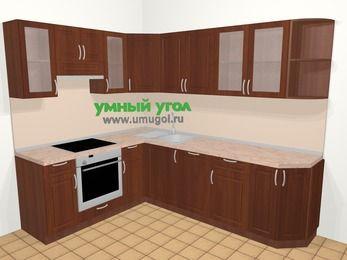 Угловая кухня МДФ матовый в классическом стиле 6,8 м², 190 на 250 см, Вишня темная, верхние модули 72 см, посудомоечная машина, встроенный духовой шкаф