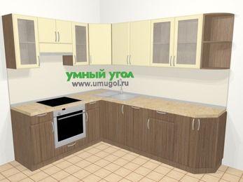 Угловая кухня МДФ матовый в современном стиле 6,8 м², 190 на 250 см, Ваниль / Лиственница бронзовая, верхние модули 72 см, посудомоечная машина, встроенный духовой шкаф