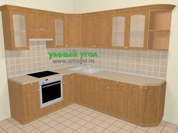 Угловая кухня МДФ матовый в стиле кантри 6,8 м², 190 на 250 см, Ольха, верхние модули 72 см, посудомоечная машина, встроенный духовой шкаф