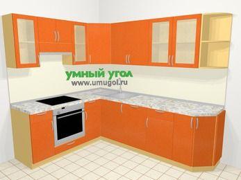 Угловая кухня МДФ металлик в современном стиле 6,8 м², 190 на 250 см, Оранжевый металлик, верхние модули 72 см, посудомоечная машина, встроенный духовой шкаф