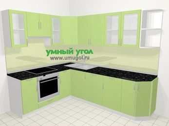Угловая кухня МДФ металлик в современном стиле 6,8 м², 190 на 250 см, Салатовый металлик, верхние модули 72 см, посудомоечная машина, встроенный духовой шкаф