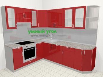 Угловая кухня МДФ глянец в современном стиле 6,8 м², 190 на 250 см, Красный, верхние модули 72 см, посудомоечная машина, встроенный духовой шкаф