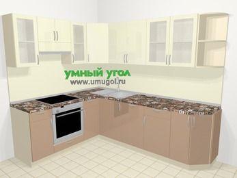 Угловая кухня МДФ глянец в современном стиле 6,8 м², 190 на 250 см, Жасмин / Капучино, верхние модули 72 см, посудомоечная машина, встроенный духовой шкаф