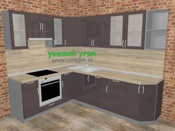 Угловая кухня МДФ глянец в стиле лофт 6,8 м², 190 на 250 см, Шоколад, верхние модули 72 см, посудомоечная машина, встроенный духовой шкаф