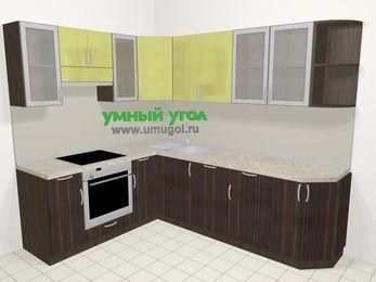 Кухни пластиковые угловые в современном стиле 6,8 м², 190 на 250 см, Желтый Галлион глянец / Дерево Мокка, верхние модули 72 см, посудомоечная машина, встроенный духовой шкаф