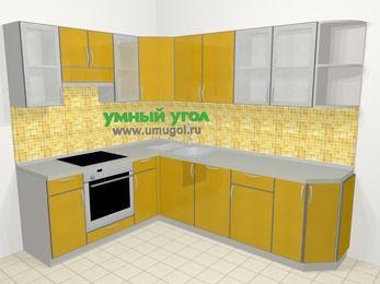 Кухни пластиковые угловые в современном стиле 6,8 м², 190 на 250 см, Желтый глянец, верхние модули 72 см, посудомоечная машина, встроенный духовой шкаф