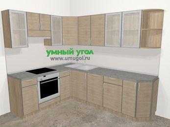 Кухни пластиковые угловые в стиле лофт 6,8 м², 190 на 250 см, Чибли бежевый, верхние модули 72 см, посудомоечная машина, встроенный духовой шкаф