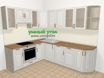 Угловая кухня МДФ патина в классическом стиле 6,8 м², 190 на 250 см, Лиственница белая, верхние модули 72 см, посудомоечная машина, встроенный духовой шкаф