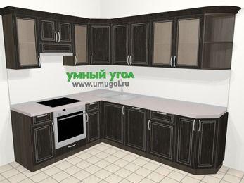 Угловая кухня МДФ патина в классическом стиле 6,8 м², 190 на 250 см, Венге, верхние модули 72 см, посудомоечная машина, встроенный духовой шкаф