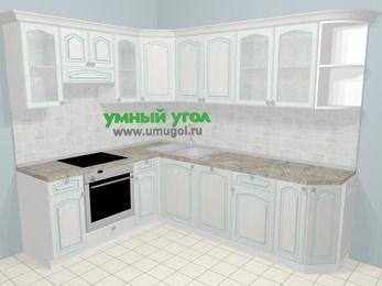 Угловая кухня МДФ патина в стиле прованс 6,8 м², 190 на 250 см, Лиственница белая, верхние модули 72 см, посудомоечная машина, встроенный духовой шкаф