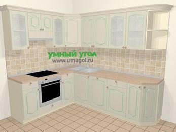 Угловая кухня МДФ патина в стиле прованс 6,8 м², 190 на 250 см, Керамик, верхние модули 72 см, посудомоечная машина, встроенный духовой шкаф