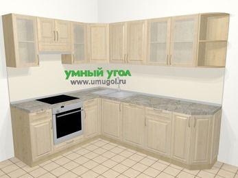 Угловая кухня из массива дерева в классическом стиле 6,8 м², 190 на 250 см, Светло-коричневые оттенки, верхние модули 72 см, посудомоечная машина, встроенный духовой шкаф