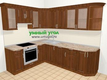 Угловая кухня из массива дерева в классическом стиле 6,8 м², 190 на 250 см, Темно-коричневые оттенки, верхние модули 72 см, посудомоечная машина, встроенный духовой шкаф