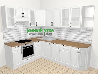 Угловая кухня из массива дерева в скандинавском стиле 6,8 м², 190 на 250 см, Белые оттенки, верхние модули 72 см, посудомоечная машина, встроенный духовой шкаф
