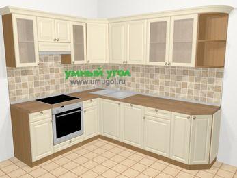 Угловая кухня из массива дерева в стиле кантри 6,8 м², 190 на 250 см, Бежевые оттенки, верхние модули 72 см, посудомоечная машина, встроенный духовой шкаф
