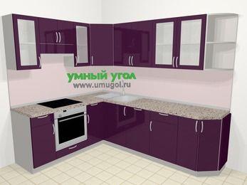 Угловая кухня МДФ глянец в современном стиле 6,8 м², 190 на 250 см, Баклажан, верхние модули 72 см, посудомоечная машина, встроенный духовой шкаф