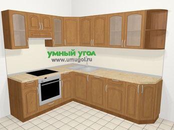 Угловая кухня МДФ патина в классическом стиле 6,8 м², 190 на 250 см, Ольха, верхние модули 72 см, посудомоечная машина, встроенный духовой шкаф