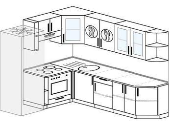 Угловая кухня 6,8 м² (1,9✕2,5 м), верхние модули 72 см, встроенный духовой шкаф, холодильник