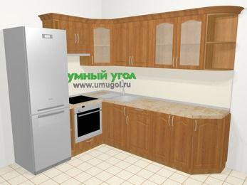 Угловая кухня МДФ матовый в классическом стиле 6,8 м², 190 на 250 см, Вишня, верхние модули 72 см, встроенный духовой шкаф, холодильник