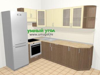 Угловая кухня МДФ матовый в современном стиле 6,8 м², 190 на 250 см, Ваниль / Лиственница бронзовая, верхние модули 72 см, встроенный духовой шкаф, холодильник