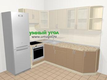 Угловая кухня МДФ матовый в современном стиле 6,8 м², 190 на 250 см, Керамик / Кофе, верхние модули 72 см, встроенный духовой шкаф, холодильник