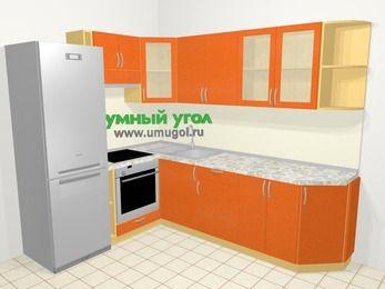Угловая кухня МДФ металлик в современном стиле 6,8 м², 190 на 250 см, Оранжевый металлик, верхние модули 72 см, встроенный духовой шкаф, холодильник