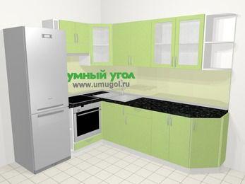 Угловая кухня МДФ металлик в современном стиле 6,8 м², 190 на 250 см, Салатовый металлик, верхние модули 72 см, встроенный духовой шкаф, холодильник