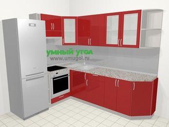 Угловая кухня МДФ глянец в современном стиле 6,8 м², 190 на 250 см, Красный, верхние модули 72 см, встроенный духовой шкаф, холодильник