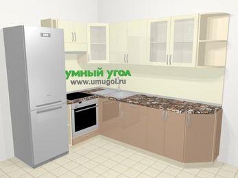 Угловая кухня МДФ глянец в современном стиле 6,8 м², 190 на 250 см, Жасмин / Капучино, верхние модули 72 см, встроенный духовой шкаф, холодильник