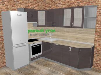 Угловая кухня МДФ глянец в стиле лофт 6,8 м², 190 на 250 см, Шоколад, верхние модули 72 см, встроенный духовой шкаф, холодильник