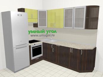 Кухни пластиковые угловые в современном стиле 6,8 м², 190 на 250 см, Желтый Галлион глянец / Дерево Мокка, верхние модули 72 см, встроенный духовой шкаф, холодильник