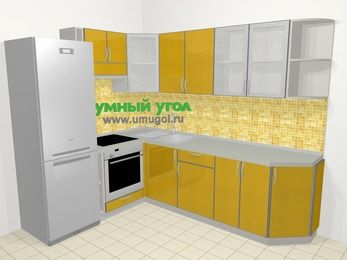Кухни пластиковые угловые в современном стиле 6,8 м², 190 на 250 см, Желтый глянец, верхние модули 72 см, встроенный духовой шкаф, холодильник
