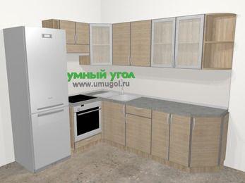 Кухни пластиковые угловые в стиле лофт 6,8 м², 190 на 250 см, Чибли бежевый, верхние модули 72 см, встроенный духовой шкаф, холодильник