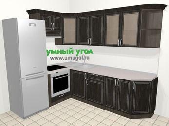 Угловая кухня МДФ патина в классическом стиле 6,8 м², 190 на 250 см, Венге, верхние модули 72 см, встроенный духовой шкаф, холодильник