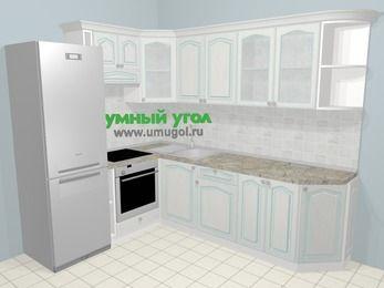Угловая кухня МДФ патина в стиле прованс 6,8 м², 190 на 250 см, Лиственница белая, верхние модули 72 см, встроенный духовой шкаф, холодильник