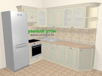 Угловая кухня МДФ патина в стиле прованс 6,8 м², 190 на 250 см, Керамик, верхние модули 72 см, встроенный духовой шкаф, холодильник