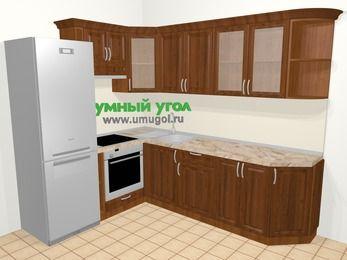 Угловая кухня из массива дерева в классическом стиле 6,8 м², 190 на 250 см, Темно-коричневые оттенки, верхние модули 72 см, встроенный духовой шкаф, холодильник