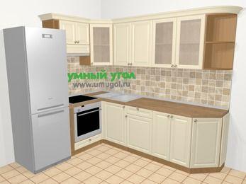 Угловая кухня из массива дерева в стиле кантри 6,8 м², 190 на 250 см, Бежевые оттенки, верхние модули 72 см, встроенный духовой шкаф, холодильник