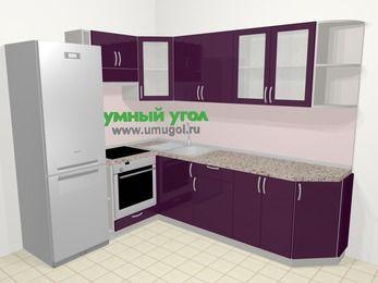 Угловая кухня МДФ глянец в современном стиле 6,8 м², 190 на 250 см, Баклажан, верхние модули 72 см, встроенный духовой шкаф, холодильник