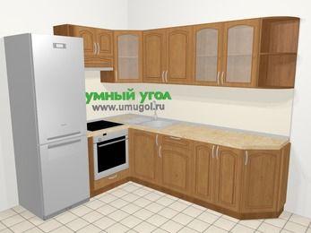 Угловая кухня МДФ патина в классическом стиле 6,8 м², 190 на 250 см, Ольха, верхние модули 72 см, встроенный духовой шкаф, холодильник