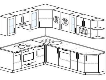 Угловая кухня 6,8 м² (1,9✕2,5 м), верхние модули 72 см, модуль под свч, встроенный духовой шкаф