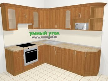 Угловая кухня МДФ матовый в классическом стиле 6,8 м², 190 на 250 см, Вишня, верхние модули 72 см, модуль под свч, встроенный духовой шкаф