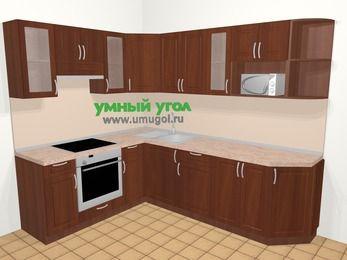 Угловая кухня МДФ матовый в классическом стиле 6,8 м², 190 на 250 см, Вишня темная, верхние модули 72 см, модуль под свч, встроенный духовой шкаф