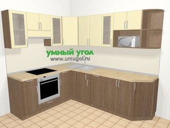 Угловая кухня МДФ матовый в современном стиле 6,8 м², 190 на 250 см, Ваниль / Лиственница бронзовая, верхние модули 72 см, модуль под свч, встроенный духовой шкаф